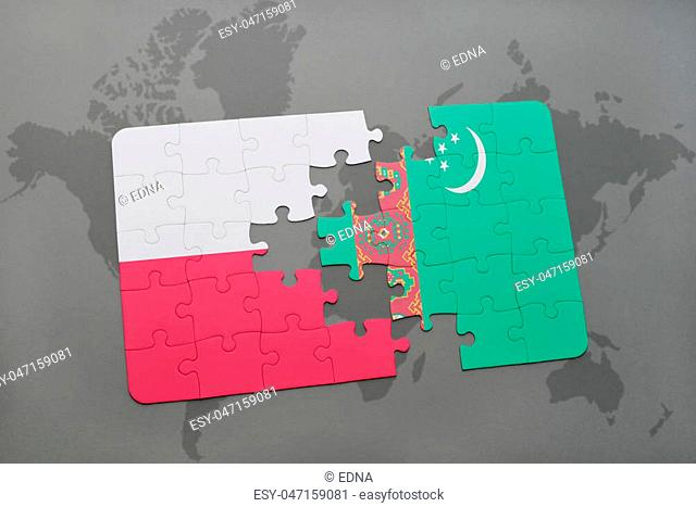 puzzle with the national flag of poland and turkmenistan on a world map background. 3D illustration