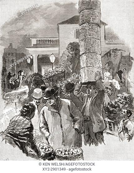 Early Morning in Covent Garden, London, England in the nineteenth century. From the book London Pictures drawn with pen and pencil by The Rev Richard Lovett