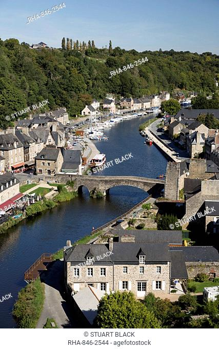 View over the port and River Rance with the Pont Gothique, Dinan, Cotes d'Armor, Brittany, France, Europe