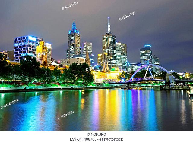 Night view of Melbourne skyline and Yarra river, Victoria, Australia