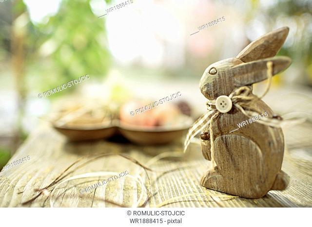 Easter Bunny On Wooden Table, Osijek, Croatia, Europe