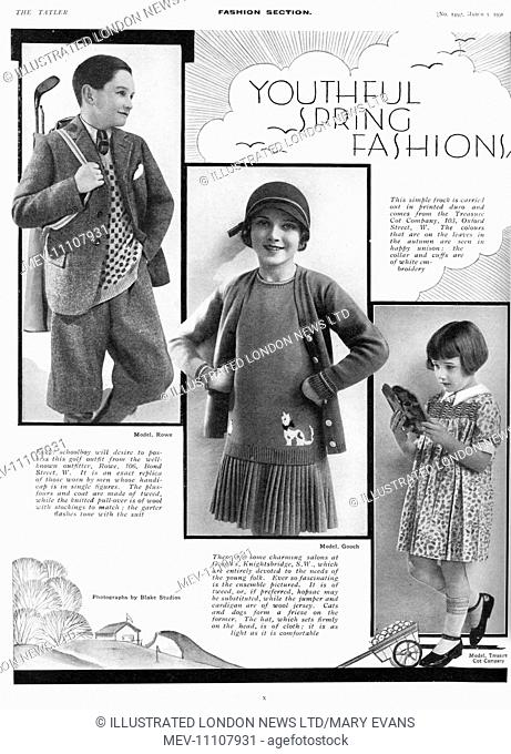 Page from The Tatler reporting on children's fashions for the spring of 1930. Top left shows a golf outfit for boys from Rowe (just like papa!)