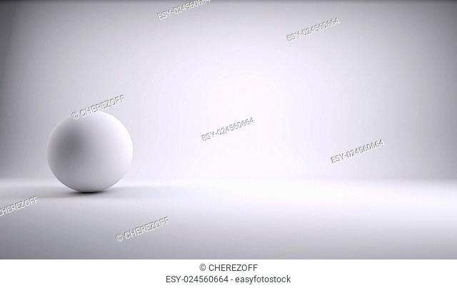 Sphere in a white photo studio. 3d Render