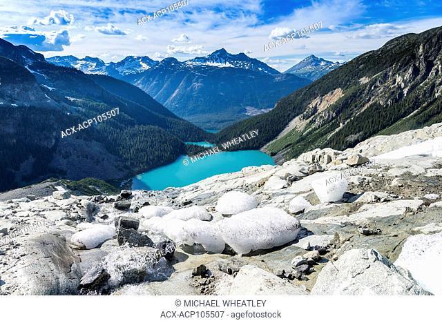View from Matier Glacier edge, Joffre Lakes Provincial Park, British Columbia, Canada