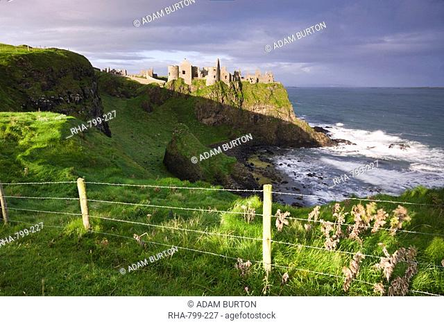 Dunluce Castle on the clifftops of County Antrim, Ulster, Northern Ireland, United Kingdom, Europe