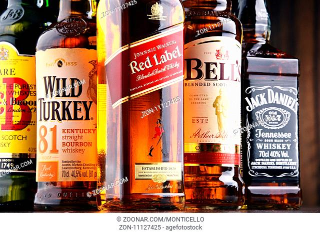 POZNAN, POLAND - MAY 17, 2017: Whiskey is the most popular liquor in the world. Originated probably in Ireland, now it is produced on grand scale also in India