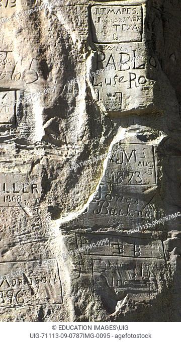 New Mexico, El Morro National Monument, Bluff-side Inscriptions by Union Pacific Survey Crew