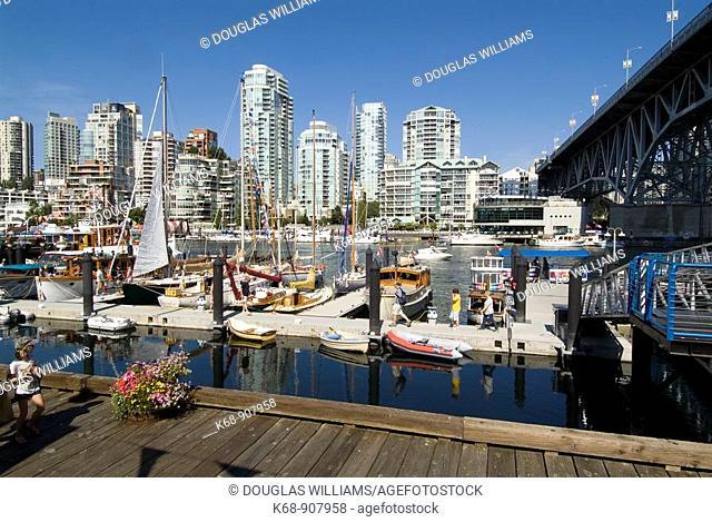 Boats in marina at Granville Island, Vancouver, BC, Canada