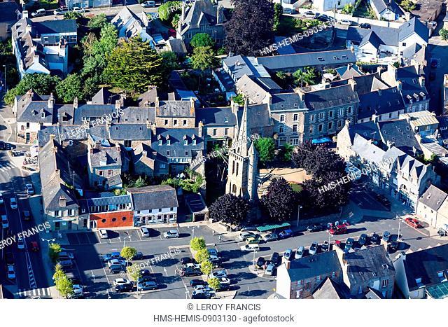 France, Cotes d'Armor, Paimpol, bell tower La Vielle Tour (aerial view)