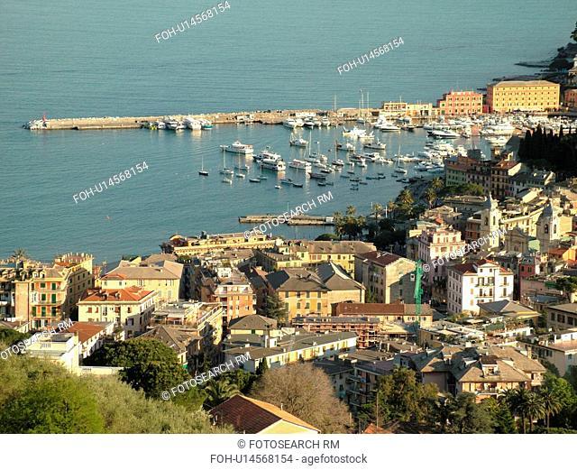 Santa Margherita Ligure, Riviera di Levante, Liguria, Italy, Ligurian Riviera, Europe, Scenic view of the resort town of Santa Margherita Ligure along the...