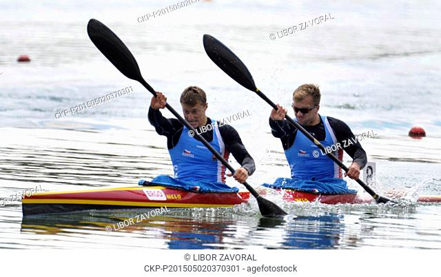 Radek Slouf and Lukas Kusovsky of Czech Republic are seen during the 200 m men qualifiers at the European Canoe Sprint Seniors Championship in Racice