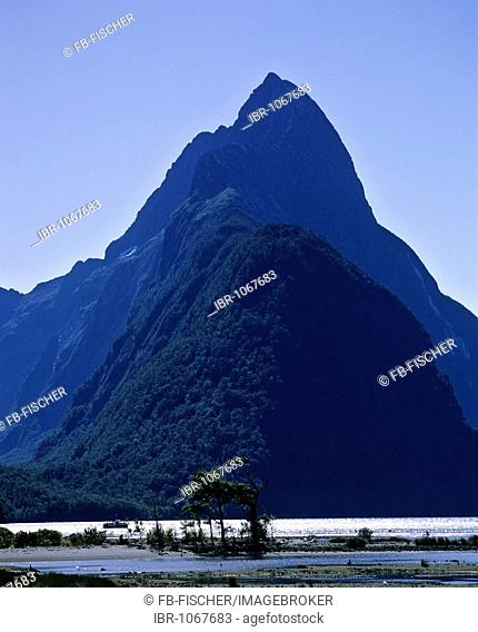 View of Mitre Peak, Milford Sound, Fiordland National Park, South Island, New Zealand