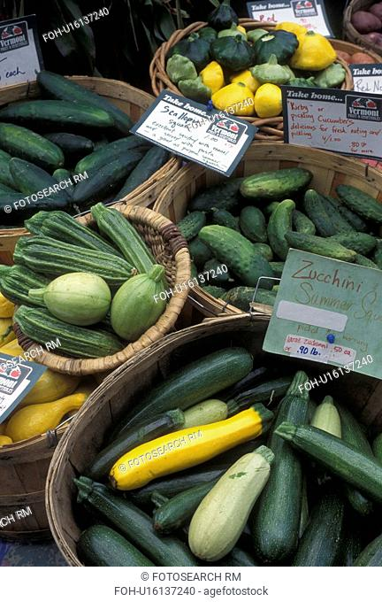 outdoor market, vegetables, produce, Vermont, VT, Vegetables for sale at the Farmers Market in Waterbury