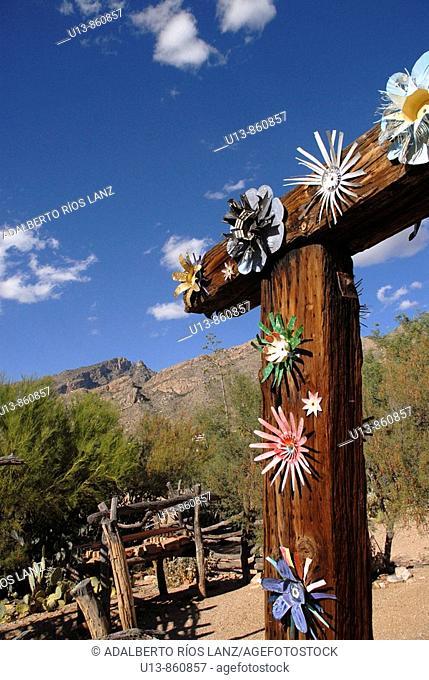 Ornate Flowers at the Main Entrance of De Grazia Gallery In The Sun, Tucson,  Arizona, United States