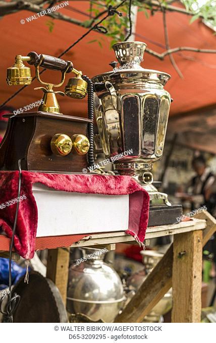 Georgia, Tbilisi, Dry Bridge Market, souvenir market, old telephone and samovar
