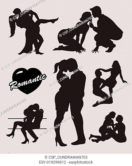 Romantic love couple silhouettes