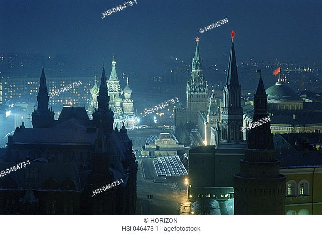 Travel, Russia, Moscow, City at night, Kremlin and Red Square