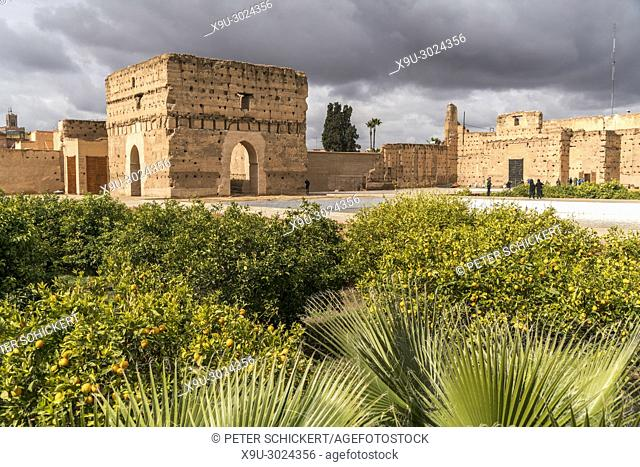 El Badi Palace ruins, Marrakesh, Kingdom of Morocco, Africa