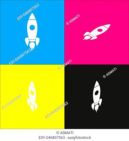 Rocket sign illustration. Vector. White icon with isometric projections on cyan, magenta, yellow and black backgrounds