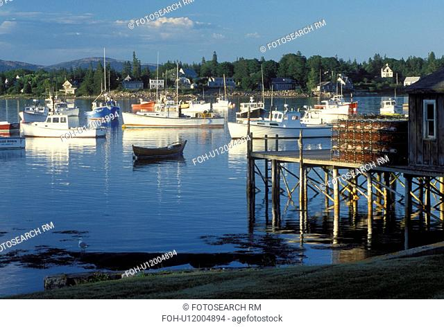ME, Bass Harbor, Maine, Mount Desert Island, View of lobster fishing boats buoyed in the harbor in the fishing village of Bass Harbor on the Atlantic Ocean