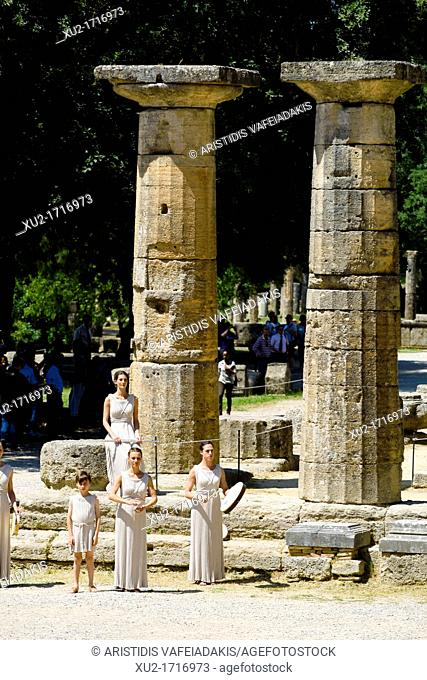 April 9, 2012 Olympia Greece  Actors take part in a dress rehearsal for the torch lighting ceremony of the London 2012 Olympic Games at the site of ancient...