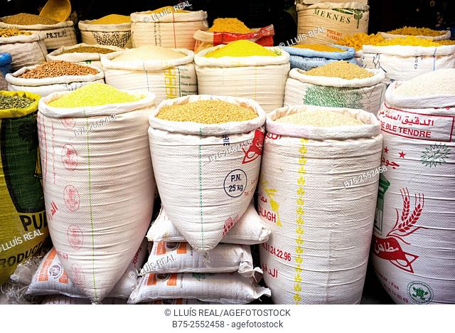 Sacks of different cereals and legumes on a trade in the medina of Meknes, Morocco, Africa