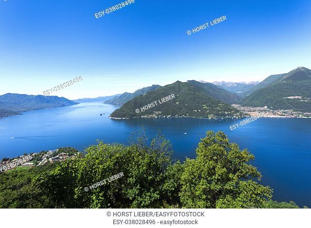 View over the southern Lago Maggiore near Maccagno - Maccagno, Lake Maggiore, Varese, Lombardy, Italy