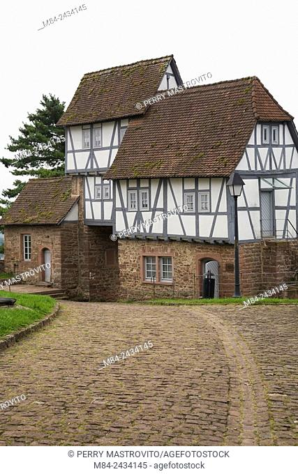 Half-Timbered gatehouse at Hirschhorn castle, Hessen, Germany