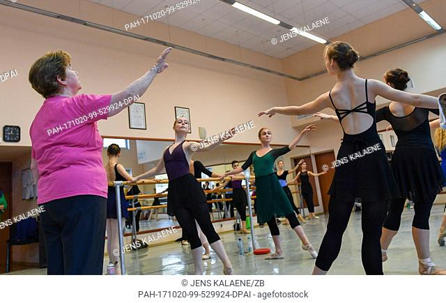 The famous dancing coach Olga Kokhanchuk (75) conducts a training session at the Russian State Ballet in Moscow, Russia, 13 October 2017