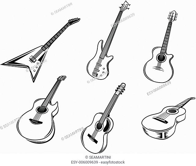 Musical guitars instruments isolated on white background