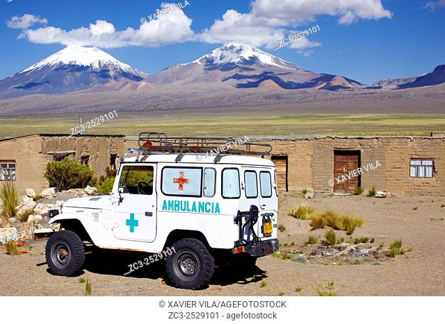 Landscape of the National park of Sajama, with old volcano and snow, traditional wall, Altiplano, Bolivia