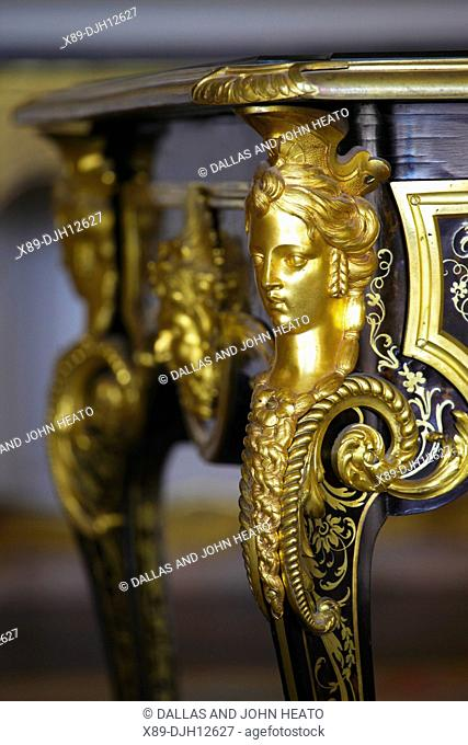 France, Versailles, Château de Versailles, Grand Cabinet of the Dauphine, Dauphine's Apartment, Decorated Table Leg