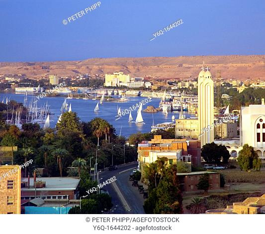 The City of Aswan in Egypt, with Feluccas sailing on the river Nile