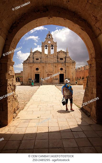 Framed view to the Arkadi Monastery, Rethymno Province, Crete, Greek Islands, Greece, Europe