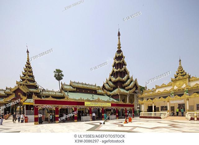 Temples inside the Shwedagon pagoda, Yangon, Myanmar, Asia