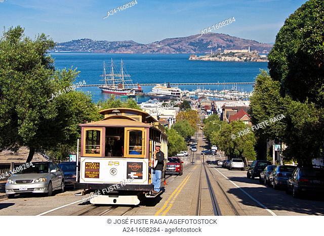 USA-California-San Francisco City-Hyde Street-Tramway-Alcatraz Prison Island