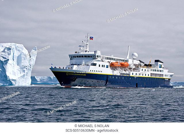 The Lindblad Expedition ship National Geographic Explorer operating in and around the Antarctic peninsula in Antarctica Lindblad Expeditions pioneered...