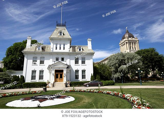 government house residence of the lieutenant governor in front of the manitoba legislative building winnipeg manitoba canada