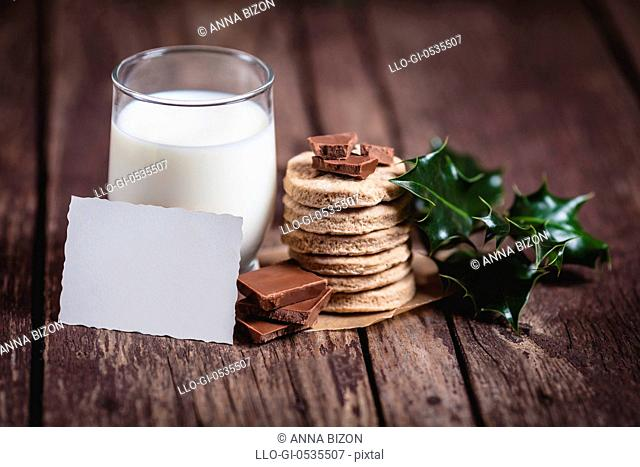 Milk with sweet food for Santa Claus. Debica, Poland