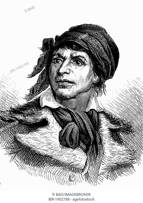 Jean Paul Marat, 1743 - 1793, physician, publisher and journalist, leader of the Jacobins in the French Revolution, historical woodcut, circa 1880