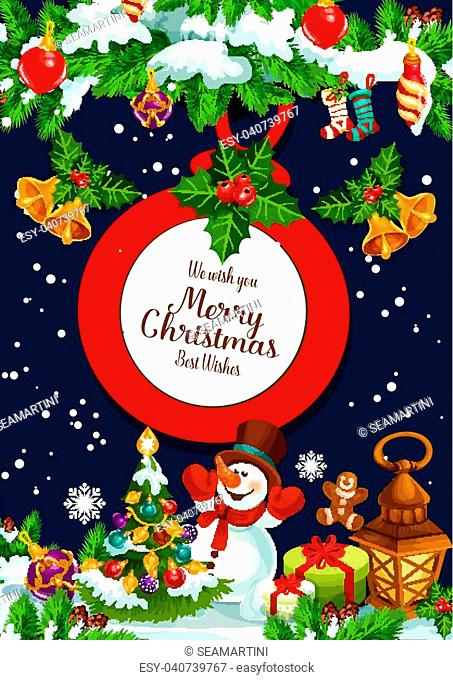 Merry Christmas wish greeting card design of Christmas tree decoration, golden bell, snowman and Santa gifts or garland lights