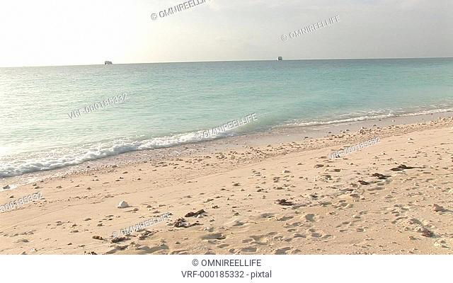 Rear view of teenagers walking on sandy beach