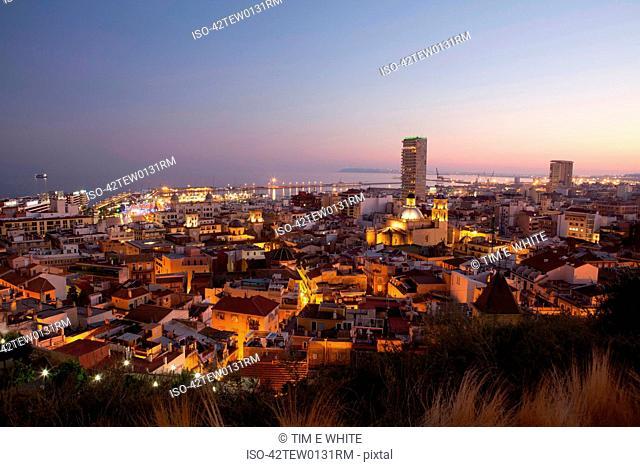 City skyline lit up at night
