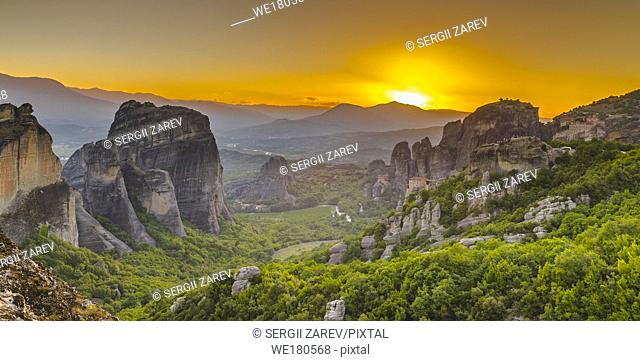 Panoramic sunset view of the Meteora Monasteries near Kalambaka town in Greece