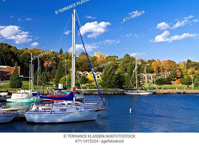 The marina and harbor in Marquette, Michigan, USA