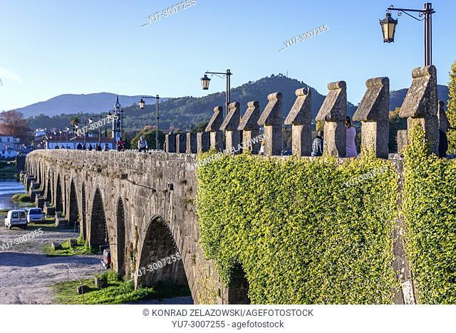 Roman bridge over Lima River in Ponte de Lima city, part of the district of Viana do Castelo, Norte region of Portugal
