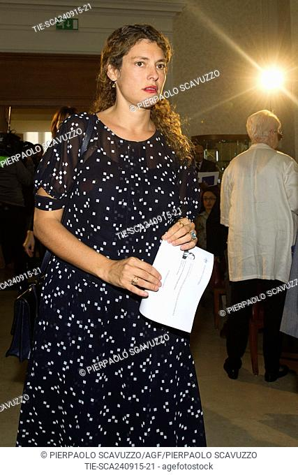 Ginevra Elkann, sister of John Elkann, during the ceremony of naming of the general gallery in the headquarter of Automobil Club d' Italia to the memory of...