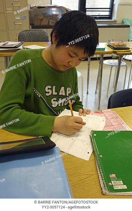 7th Grade Boy Writing in Class, Wellsville, New York, USA