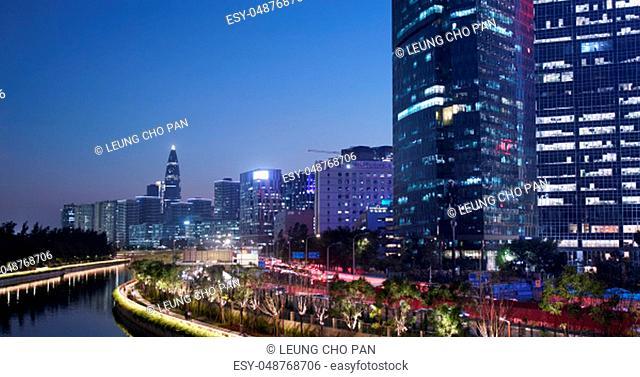 Shenzhen, China, 29 October 2018:- Business district in Shenzhen at night