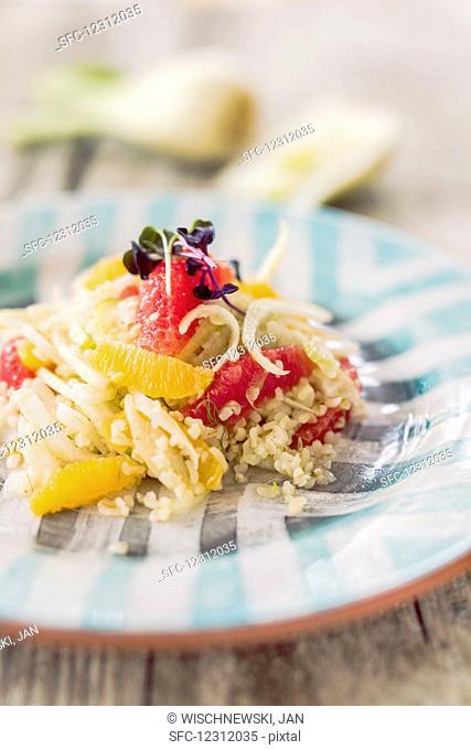 Bulgur and fennel salad with citrus fruits